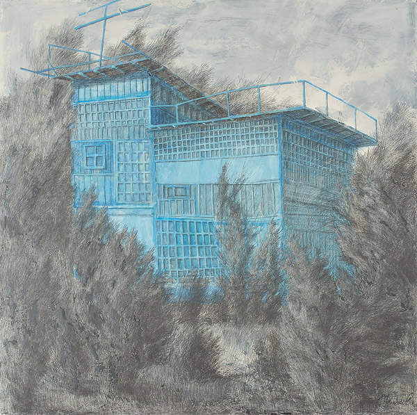 Dovecote 1  2010  Graphite pencil, acrylic on canvas  170×180 cm