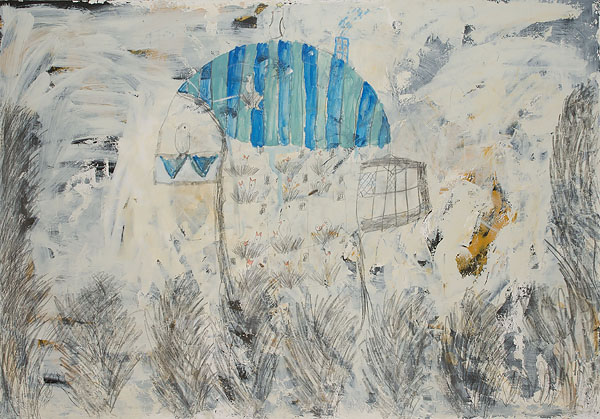 Dovecote 3  with Varja Krjanina  2012  Graphite pencil, acrylic on canvas