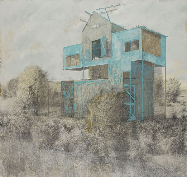 Dovecote 4  2010  Graphite pencil, acrylic on canvas