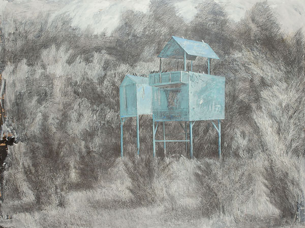 Dovecote 5  2010  Graphite pencil, acrylic on canvas  140×200 cm