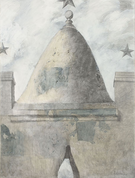 Mausoleum 2  2010  Graphite pencil, acrylic on canvas  200×150 cm