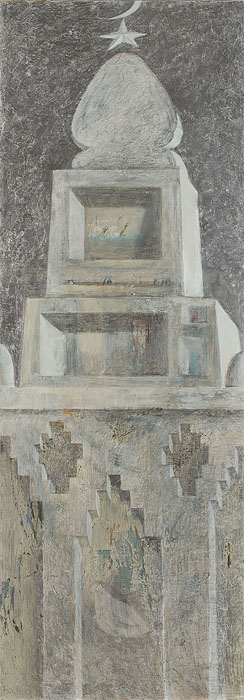 Mausoleum 5  2010  Graphite pencil, acrylic on canvas  200×70 cm
